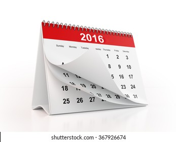 2016 monthly desktop calendar with curled pages. The calendar is red in colour and it is isolated on white background. Clipping path is included.