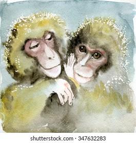 2016 Year Of The Monkey Watercolor Animal Symbol New Cartoon Monkeys Babies