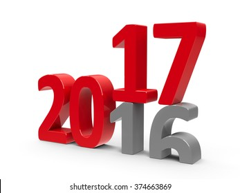2016-2017 change represents the new year 2017, three-dimensional rendering