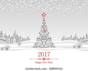2017 happy new year greeting card celebration background with christmas landscape christmas balls