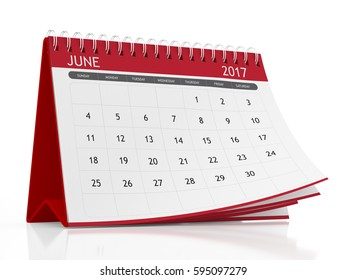 2017 June page of a desktop calendar on white background. 3D Rendering.