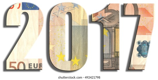 2017 or New Year eve. Euro banknote texture. 3D illustration.