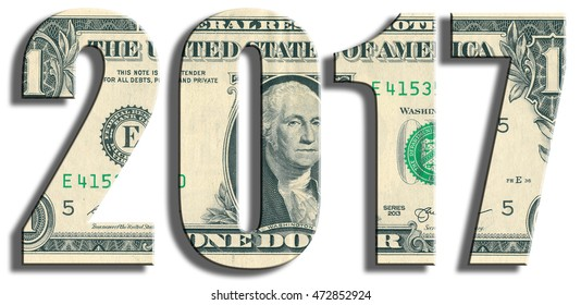 2017 new year. US Dollar texture.