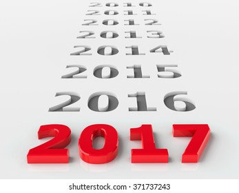 2017 past represents the new year 2017, three-dimensional rendering