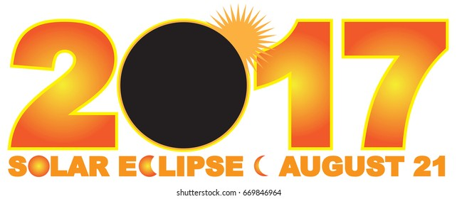 2017 Solar Eclipse Totality across America USA numeral and text  color raster illustration