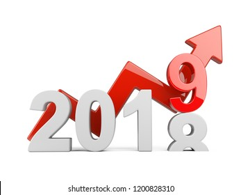 2018 2019 change concept. Represents the new year symbol with graph - view front. 3D illustration isolated on white background.