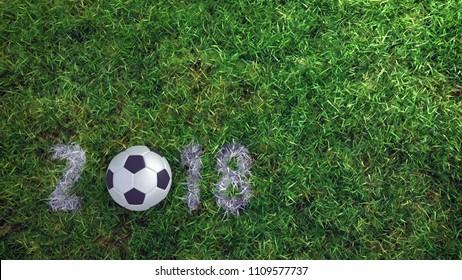 2018 3d soccer ball on grass football field