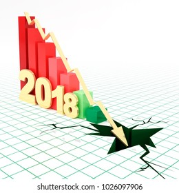 2018 bar graph and moving down arrow.
