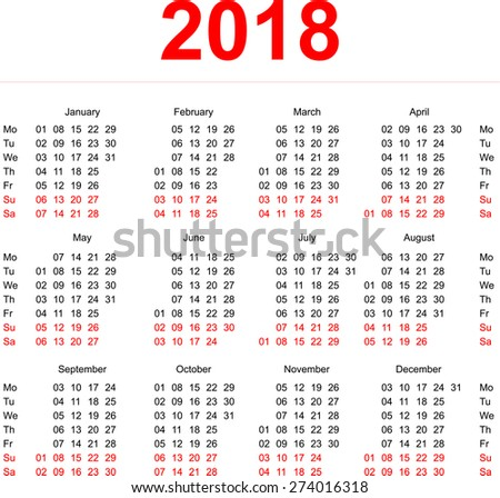 2018 calendar template vertical weeks first day monday
