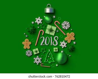2018 Christmas ball ornament background. 3d rendered illustration.