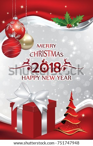 2018 Christmas New Year Elegant Red Stock Illustration 751747948 ...