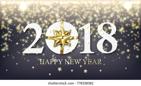 2018 Happy New Year background with golden gift with bow