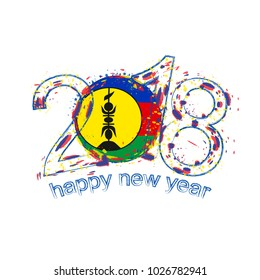2018 Happy New Year New Caledonia grunge template. Raster copy.
