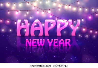 2018 Happy New Year Colourful Glowing Christmas Garland. Raster version