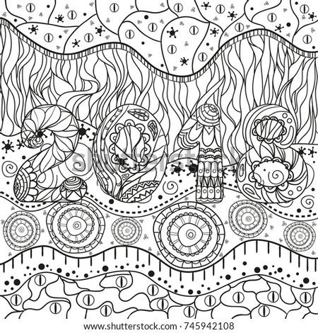 2018 Happy New Year Hand Drawn Stock Illustration 745942108 ...