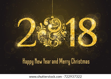 2018 happy new year holiday banner with sparkling glitter golden textured christmas ball seasonal holidays