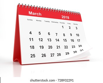 2018 March page of a red plastic framed desktop calendar on white background. 3D Rendering.