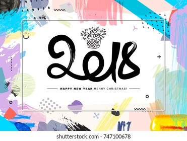 2018 Merry Christmas and Happy New Year card or background. Creative universal floral artistic cover in trendy style with Hand Drawn textures. Collage. Hipster graphic design template.