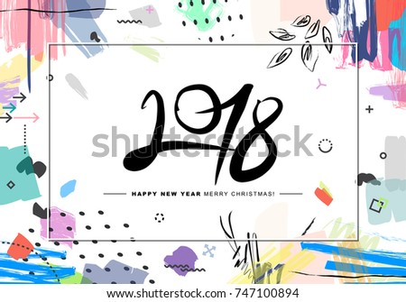 2018 merry christmas and happy new year card or background creative universal floral artistic cover