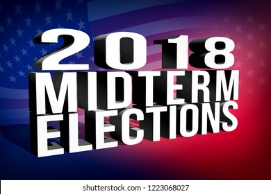 2018 Midterm Elections banner with USA flag background