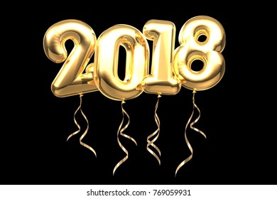 2018 new year balloon font celebration with path for easy selection