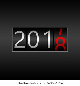 2018. New Year Black Odometer on black background - New Year 2018 design, odometer style with white and red numbers