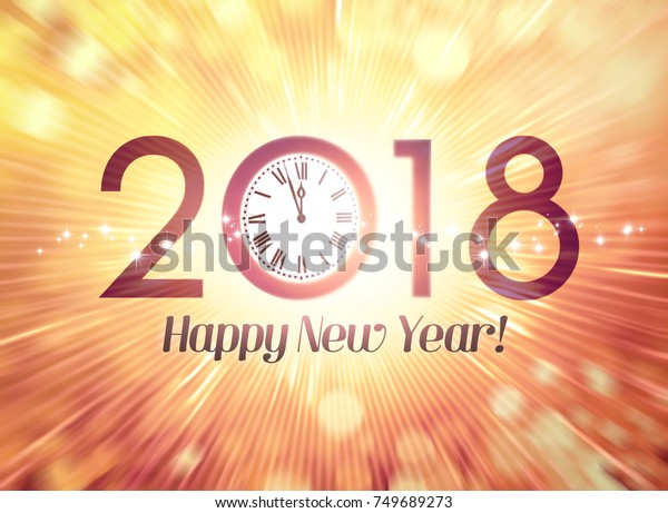 2018 New Year calendar date with a clock approaching midnight, on a festive bright background