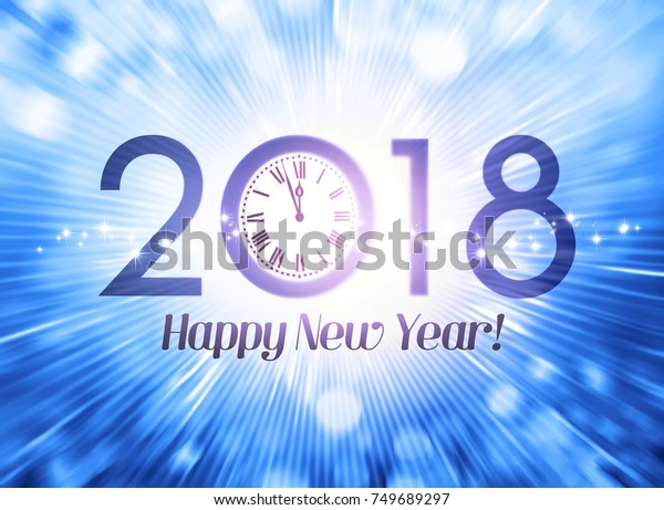 2018 New Year calendar date with a clock approaching midnight, on a festive blue background