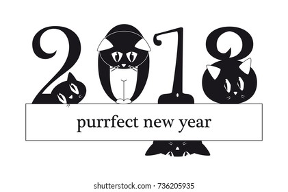 2018 New Year card with funny cats as a digits - original funny illustration