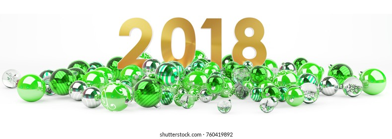 2018 new year eve with green and white christmas baubles 3D rendering