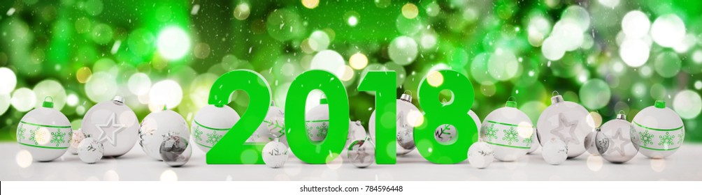 2018 new year eve with white and green christmas baubles on snow background 3D rendering
