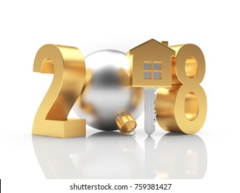 2018 New Year golden number and key-house icon on white with reflection. 3D illustration