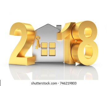 2018 New Year golden numbers and silver house icon isolated on white. 3D illustration