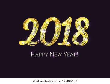 2018 new year shining black and gold background festive premium design template for holiday greeting
