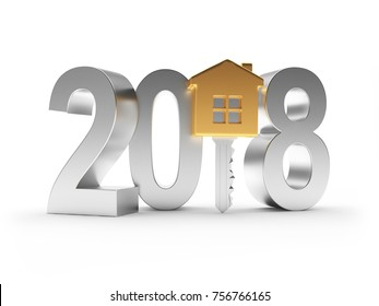 2018 New Year silver number and golden key-house icon on white. 3D illustration