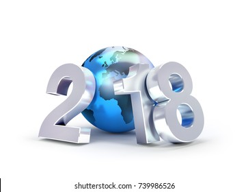2018 New Year type composed with a blue planet earth, isolated on white - 3D illustration
