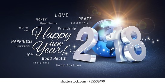 2018 New Year type composed with a blue planet earth and all the best greeting words, on a glittering black background - 3D illustration
