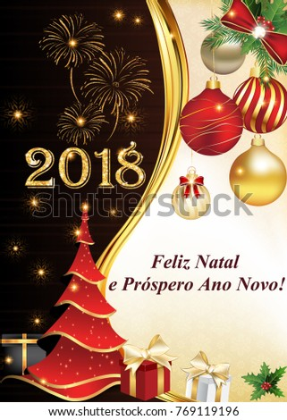 2018 portuguese business christmas new year stock illustration 2018 portuguese business christmas new year greeting card with message in portuguese merry christmas m4hsunfo