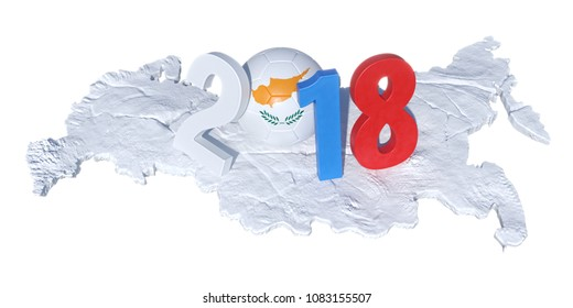 2018 written with a Cypr Cyprus Cypriot flag soccer ball which laid down on the Russian map, covered with snow. Isolated on white background. 3D Rendering, Illustration.