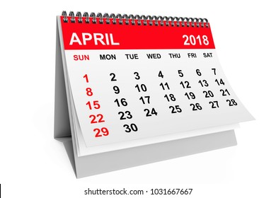 2018 year calendar. April calendar on a white background. 3d rendering