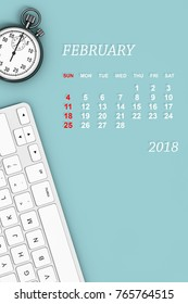 2018 year calendar. February calendar with Stopwatch and Keyboard. 3d Rendering