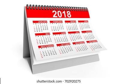 2018 Year Desktop Calendar on a white background. 3d Rendering