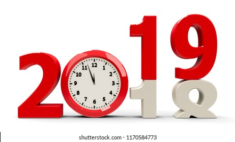 2018-2019 change with clock dial represents coming new year 2018, three-dimensional rendering, 3D illustration