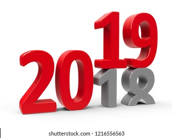 2018-2019 change represents the new year 2018, three-dimensional rendering, 3D illustration