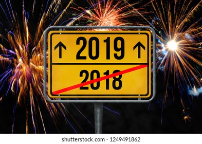 2018-2019 firework New Year's Eve sign
