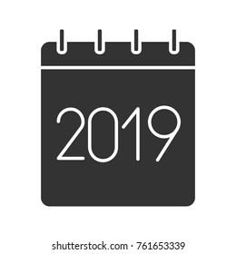 2019 annual calendar glyph icon silhouette stock illustration
