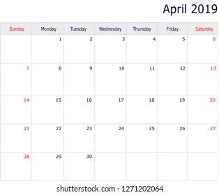 2019 april calendar