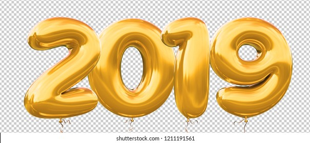 2019 Balloon number realistic 3d Illustration with helium Gold balloon for your unique greeting 2019 New Year, celebrate, party, banner, poster and more