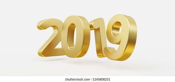 2019 bold letters 3d-illustration