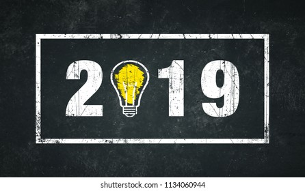 2019 with border on a dark background